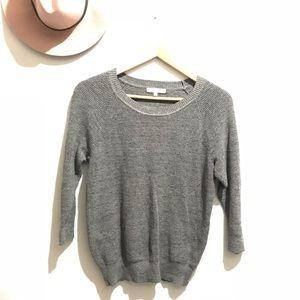 Madewell Gray Cotton Scoop Neck Sweater